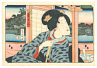 Yoshikazu Utagawa active ca.1850-70 - Lady with a View - Yonjuhakkei no Uchi