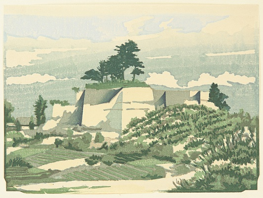 Tadahiro Hashiba 1894-1989 - One Hundred Famous Views of Kuwana - Stone Walls