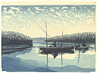 Tadahiro Hashiba 1894-1989 - One Hundred Famous Views of Kuwana - Fishing in Ibi River