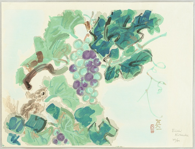 Eiichi Kotozuka 1906-1979 - Squirrel and grapes