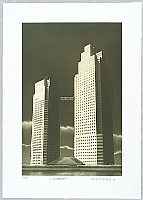 Shigeo Risho born 1948 - One Hundred Views of Tokyo - The Two-some Towers, St. Luke's Garden