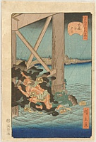 Hirokage Utagawa active 1855 - 65 - Humorous Scenes at the Famous Places of Edo - Thunder God and Kappa Monster