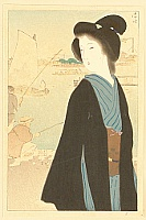 Kiyokata Kaburagi 1878-1973 - Portfolio of Beauties - Hamamach Bank in Autumn