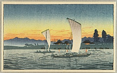 Hiroaki (Shotei) Takahashi 1871-1945 - Returning Boats in Sunset NYK Line Post Card