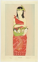 Ryusei Okamoto born 1949 - Lady, Carp and Four Kittens -  Boating (red)