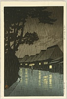 Hasui Kawase 1883-1957 - Rainy Night at Maekawa