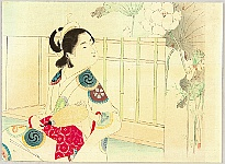 Toshikata Mizuno 1866-1908 - Beauty and Lotus Flowers