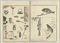 Hiroshige Ando 1797-1858 - Sketch Book of Ryusai Hiroshige - Fish and Everyday Items
