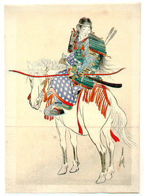Gekko Ogata 1859-1920 - Tomoe, the Female Warrior (Kuchi-e)