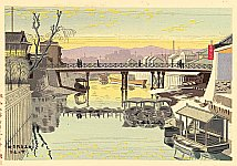 Takeji Asano 1900-1999 - Sunset Glow at Kyobashi Bridge