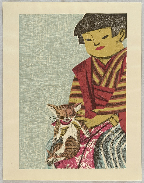 Senpan Maekawa 1888-1960 - Girl from the Field - Girl and Cat