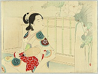 Toshikata Mizuno 1866-1908 - Courtesan - Beauty and Lotus Flowers