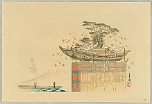 Gekko Ogata 1859-1920 - One Hundred Views of Mt. Fuji - Persimmons and Boat