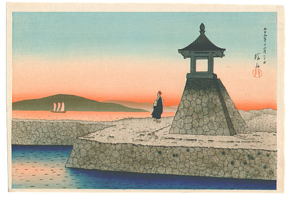 By Ito Shinsui - Dawn at Akashi, 1918