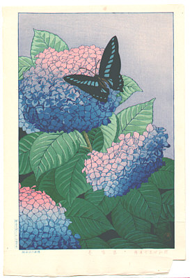 Taisui Inuzuka fl. 1920s - Butterfly and Hydrangeas