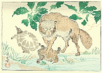 Kyosai Rakuga - Raccoon Dog and Turtle