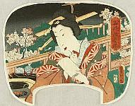 Courtesan on Balcony - uchiwa-e