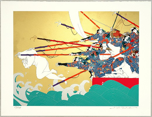 Battle of the Genji and the Heike - Genpei - Emperor Antoku Plunges into Water by Hideo Takeda born 1948 - Auction - Modern Japanese Prints - 1381