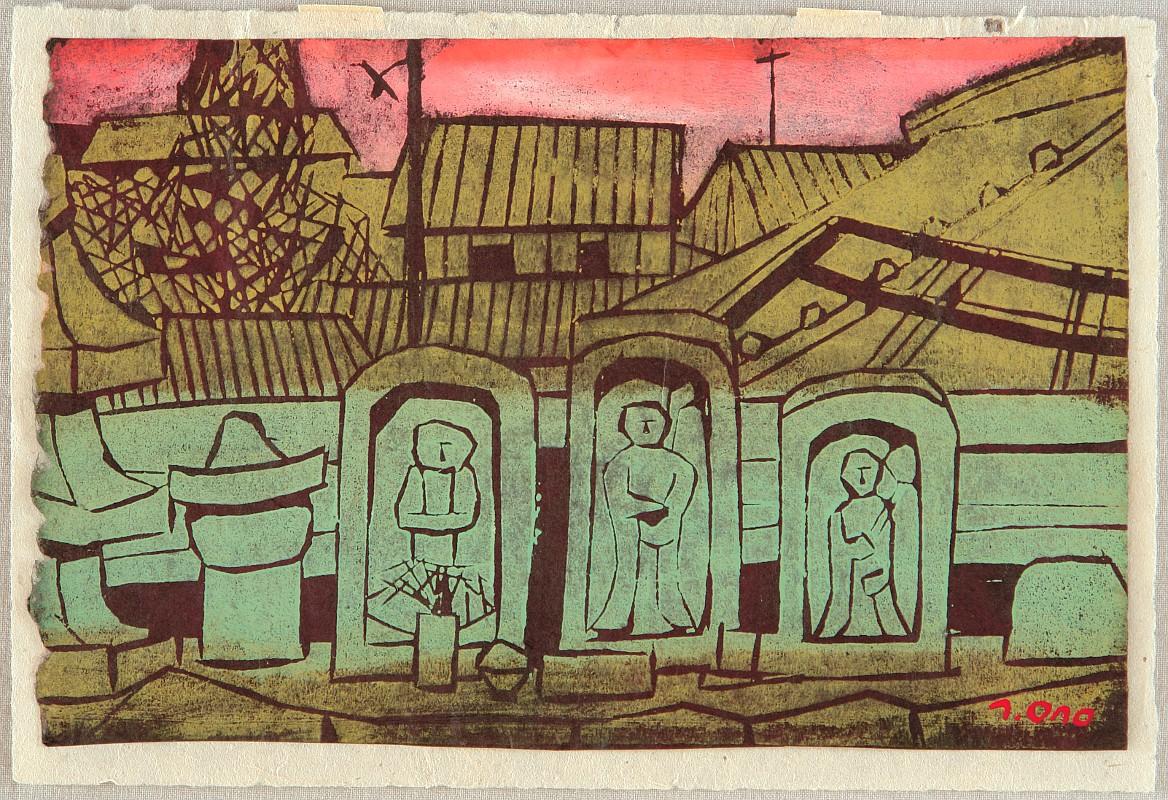 Roadside in Nara by Tadashige Ono 1909-1990
