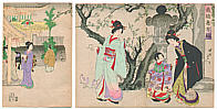 Chikanobu Toyohara 1838-1912 - Temple Visits