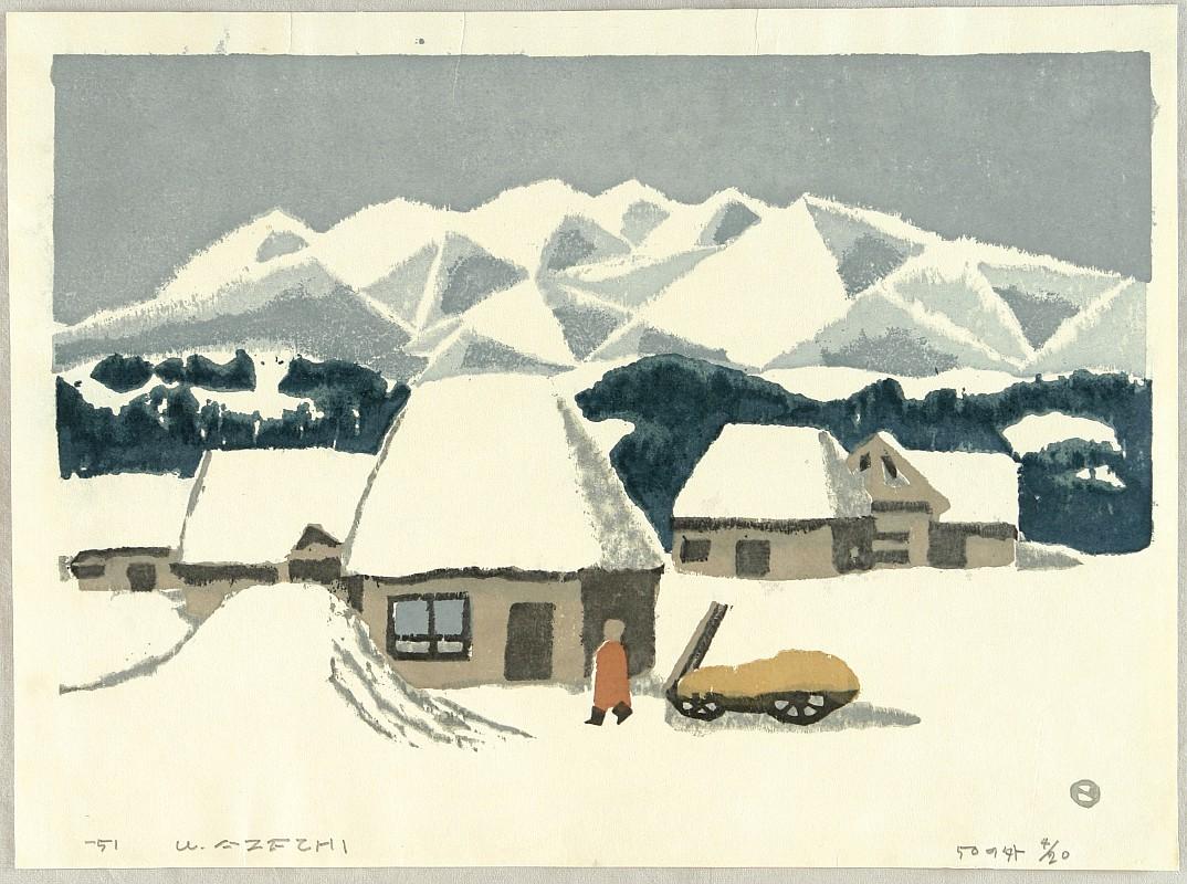 Snowscape by Umetaro Azechi 1902-1999 - Auction - Sosaku Hanga and Japanese Prints - 1435