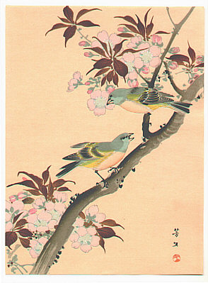 Hobun Kikuchi 1862-1918 - Two Birds on a Cherry Tree