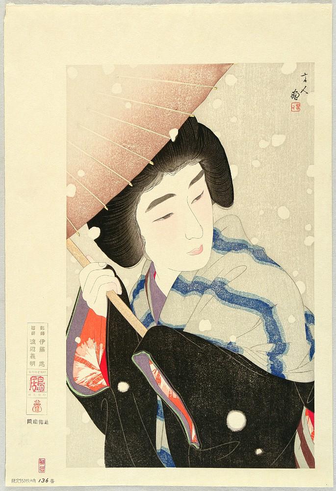 Twelve Aspects of Women - Large Snowflakes by Kotondo Torii 1900-1976 - Auction - Japanese Prints and Ukiyo-e Beauties - 1434