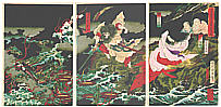 Chikanobu Toyohara 1838-1912 - Eight Headed Dragon  -  Yamata no Orochi