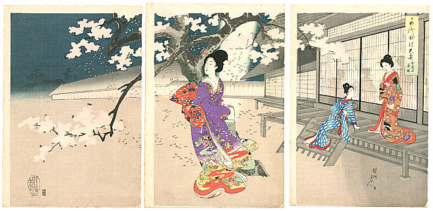 Chikanobu Toyohara 1838-1912 - Beauties and Night Blossoms