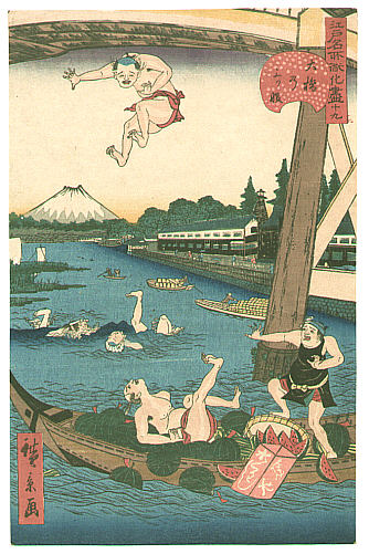 Hirokage Utagawa active 1855 - 65 - Jumping into the Water