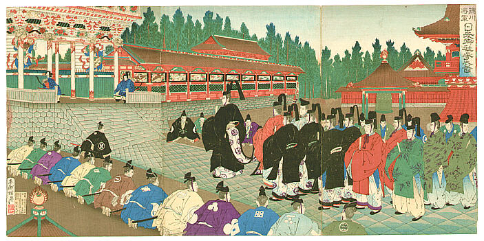 By Shogetsu Kojima active 1880-1890 - Procession at Nikko Shrine